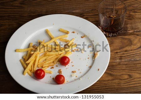 leftover food  after lunch - stock photo