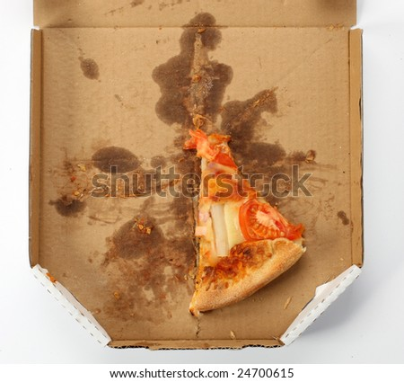 leftovers of pizza in a takeaway box - stock photo