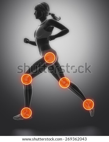Leg most injured regoins in sport - ankle,hip,knee - stock photo