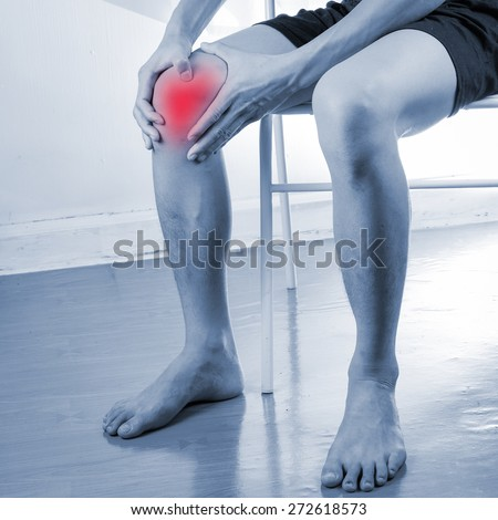 Leg muscle pain,Knee pain - stock photo