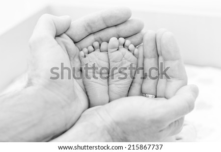 Leg of the newborn child in caring hands of the father ( black and white ) - stock photo