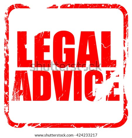 legal advice, red rubber stamp with grunge edges - stock photo
