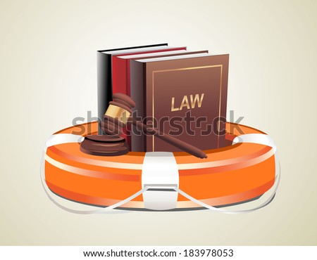 Legal aid. Gavel, book and lifebuoy - stock photo