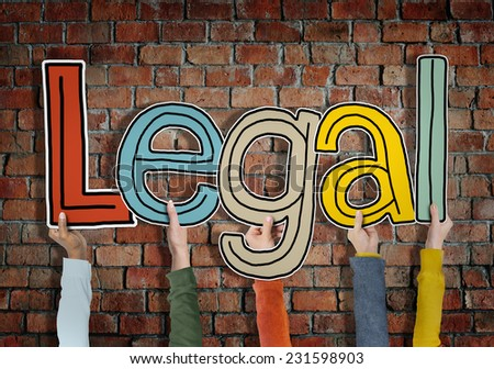 Legal Allowed Rightful Approve Bricks Wall Hands Up Hold Concept - stock photo