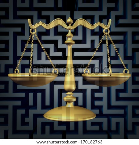 Legal confusion and lawyer guidance as a business law concept with a justice scale on a three dimensional maze or labyrinth as a metaphor for complicated regulations and bureaucracy. - stock photo