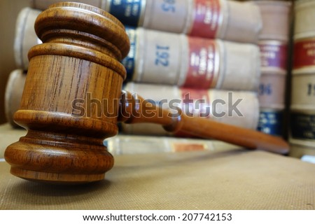 Legal gavel and law books                                - stock photo