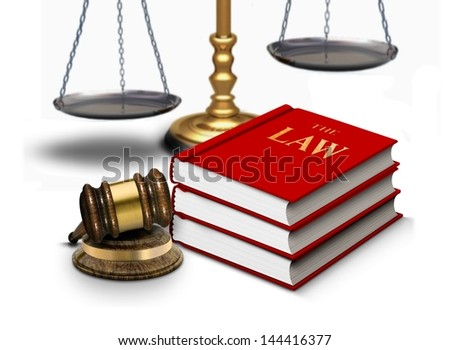 Legal gavel with scales and law books - stock photo