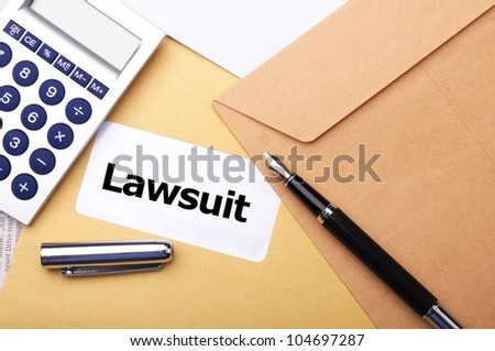 legal law or lawsiut business concept with envelope and word - stock photo