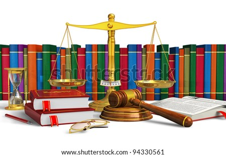 Legal or bidding concept: balance, wooden mallet, hourglasses, books and other objects isolated on white background - stock photo