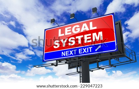 Legal System - Red Billboard on Sky Background. Business Concept. - stock photo