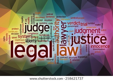 Legal word cloud concept with abstract background - stock photo