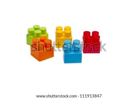 lego plastic toy blocks on white background isolated - stock photo