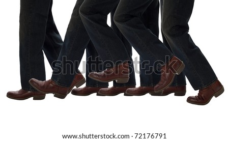 Legs moving one step forward - stock photo