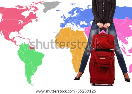 Legs of beautiful girl with red suitcase on map world background - stock photo
