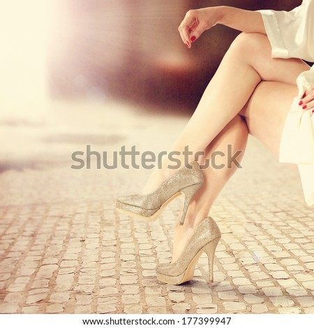 legs of woman  - stock photo