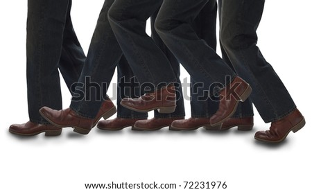 Legs walking with shadow - stock photo