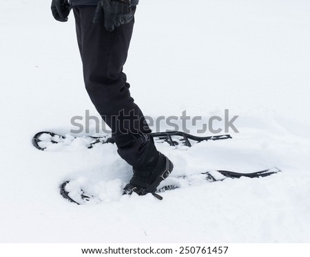 Legs with snowshoes on deep snow - stock photo