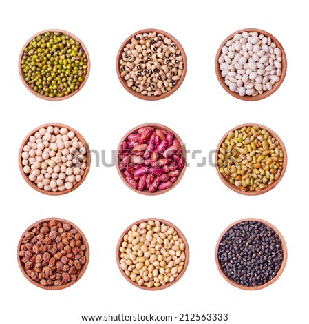 Legume collection over white background  - stock photo
