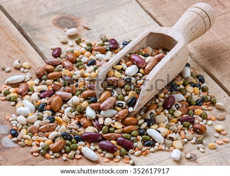Legumes with wood background - stock photo
