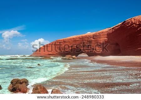 Legzira beach, Sidi Ifni, Souss-Massa-Draa, Morocco - stock photo