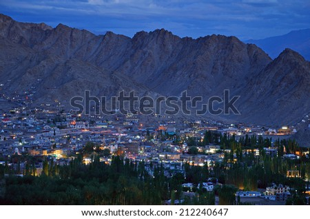 LEH, INDIA - AUGUST 2, 2014:  Leh was the capital of the Himalayan kingdom of Ladakh and now is the capital of the Leh district. It is at an altitude of 3524 meters. - stock photo