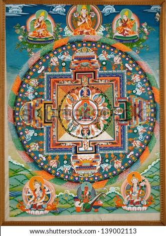 LEH, LADAKH, INDIA - SEPTEMBER 13, 2012:  Wheel of Dharma. Old buddhist fresco at the gate of tibetan monastery Thiksey Gompa, Leh, India. September 13, 2012. - stock photo