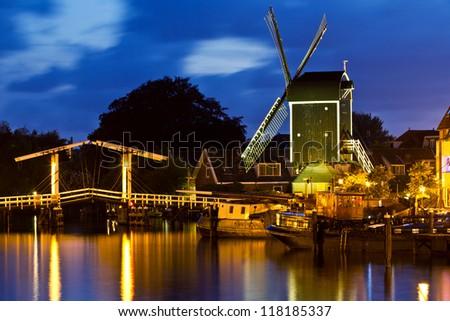 Leiden, windmill De Put - stock photo