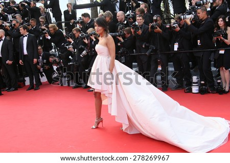 Leila Bekhti attends the opening ceremony and 'La Tete Haute' premiere during the 68th annual Cannes Film Festival on May 13, 2015 in Cannes, France. - stock photo