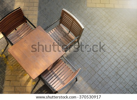 leisure corner with wood chairs and table - stock photo