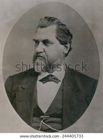 Leland Stanford 1824-1893 was drawn to California by the Gold Rush in 1850s. Investor in the Central Pacific Railroad was elected Governor and U.S. Senator and founded Stanford University. Ca. 1870. - stock photo