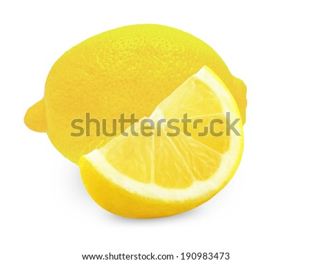 lemon and a slice of lemon on a white background  - stock photo