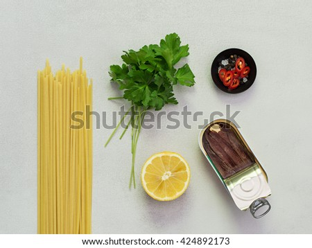 Lemon and Anchovy Pasta Ingredients. - stock photo