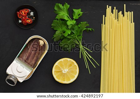Lemon and Anchovy Pasta Ingredients - stock photo