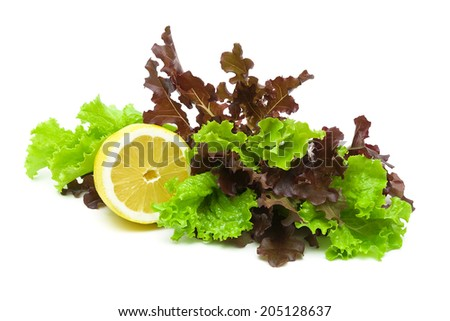lemon and fresh lettuce of different types on a white background close-up. horizontal photo. - stock photo