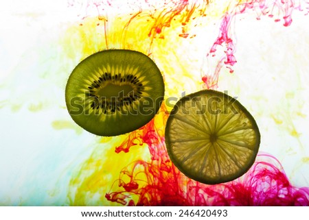 lemon and kiwi fruit isolated on white background  - stock photo