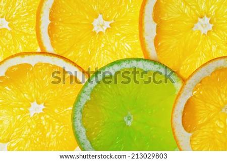 Lemon and orange slices background - stock photo