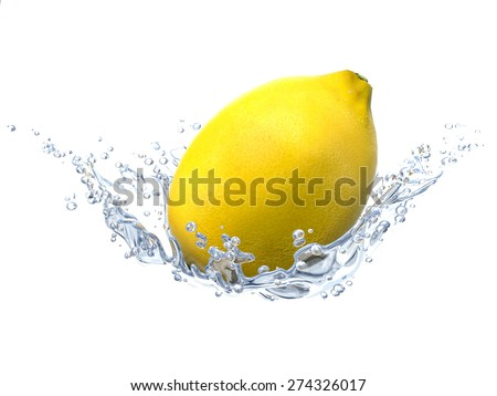 Lemon and water bubbles. Fresh fruits and clean water - stock photo