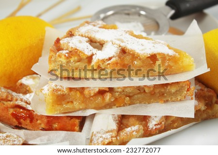 Lemon apple pie, tart, crostata - stock photo