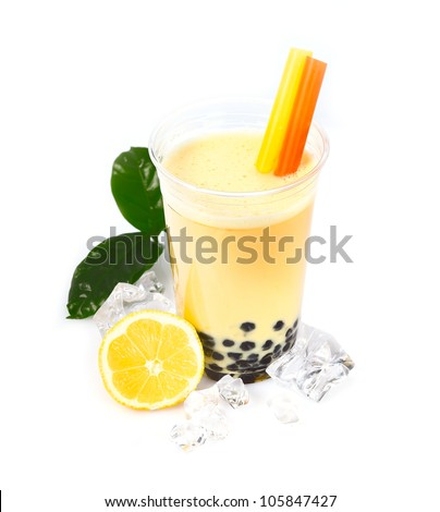 Lemon Boba Bubble Tea with fruits and crushed ice. - stock photo