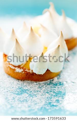 lemon cake with meringue - stock photo