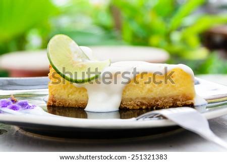 Lemon cheese cake - stock photo