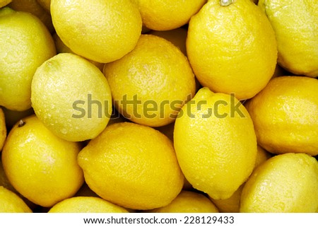 Lemon citrus Raw fruit and vegetable backgrounds overhead perspective, part of a set collection of healthy organic fresh produce - stock photo
