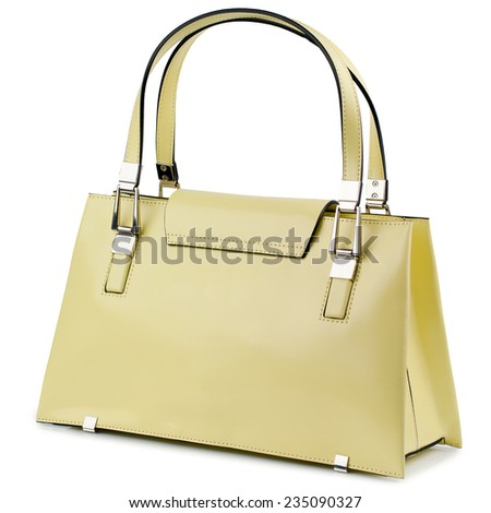 Lemon cream female  handbag isolated on white background. - stock photo