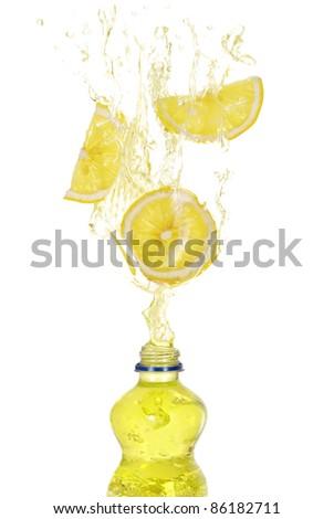 Lemon drink splash - stock photo