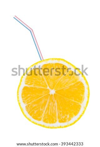 Lemon fruit and straw isolated on white background - stock photo
