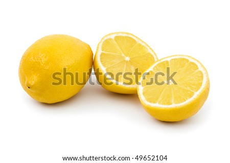 Lemon fruit isolated on white background - stock photo