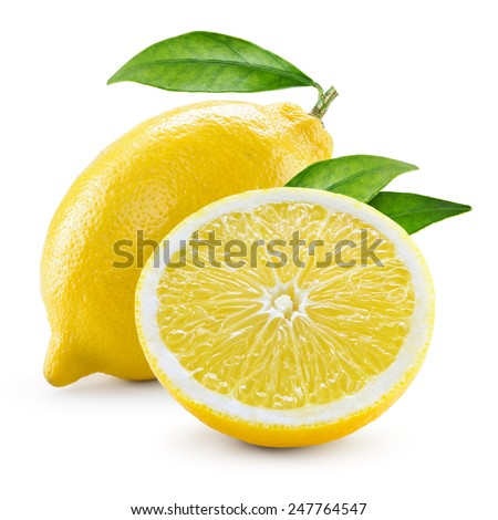 Lemon. Fruit with half and leaves isolated on white - stock photo