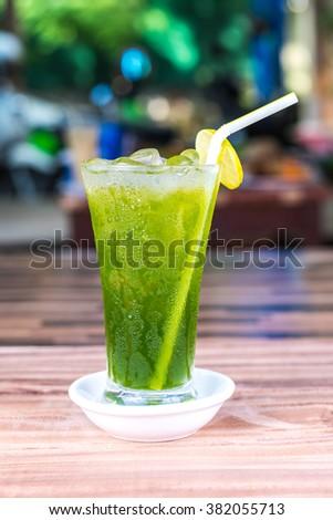Lemon Green Tea with ICE, Khmer Soft drink, Cambodia - stock photo