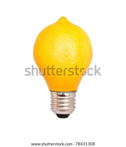 Lemon in the form of light bulbs on a white background. lemon lamp - stock photo