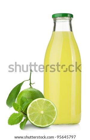 Lemon juice glass bottle, ripe limes and mint. Isolated on white background - stock photo